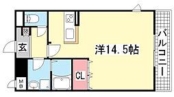 リバーサイド北神戸[101号室]の間取り