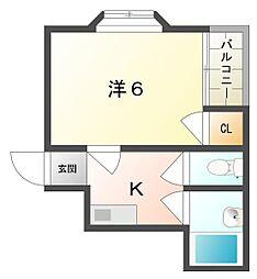ブルースカイ古川橋[4階]の間取り