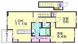 メゾンドソレイユ志免東[2階]の間取り