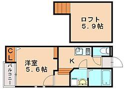 仮)クレオ土井参番館[2階]の間取り