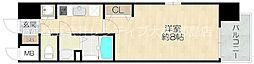 おおさか東線 JR野江駅 徒歩5分の賃貸マンション 8階1Kの間取り