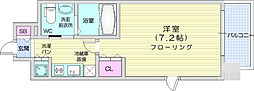 エルスタンザ仙台上杉 8階1Kの間取り