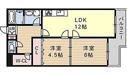ビューハイツ京都山科[132号室号室]の間取り