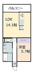 フォンテーヌ彦根 6階1LDKの間取り