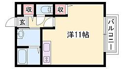 コンフォートテクノI 2階ワンルームの間取り