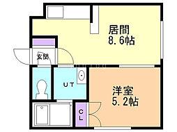 マンション福寿草 4階1DKの間取り
