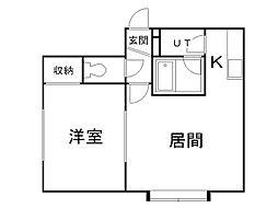 シャネル新琴似弐番館 1階1LDKの間取り