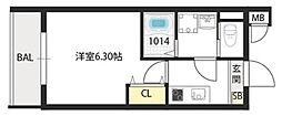 Osaka Metro今里筋線 太子橋今市駅 徒歩4分の賃貸マンション 4階1Kの間取り