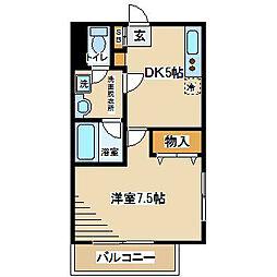 東京都府中市北山町2丁目の賃貸マンションの間取り