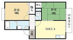 TタウンD棟[2階]の間取り