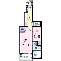 福岡県久留米市高良内町の賃貸アパートの間取り