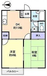 メゾンキャッスルK−1[2階]の間取り