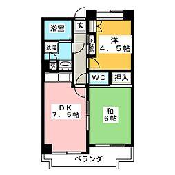 フェリックス新川崎 2階2DKの間取り