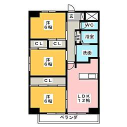 パークサイド雁宿2号館[2階]の間取り