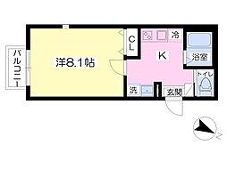 キャメル北入曽I 1階1Kの間取り