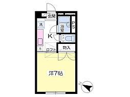 仙台市地下鉄東西線 川内駅 徒歩4分の賃貸アパート 1階1Kの間取り