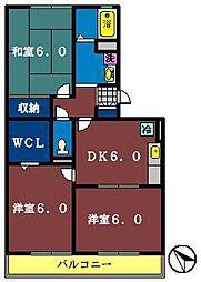ハイローズ船橋弐番館[208号室]の間取り