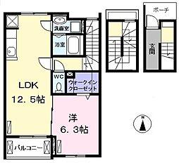 愛知県名古屋市西区赤城町の賃貸アパートの間取り