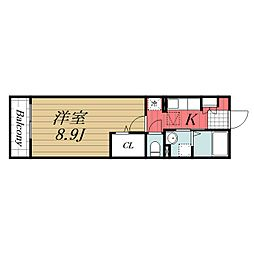 JR成田線 木下駅 徒歩7分の賃貸マンション 1階1Kの間取り