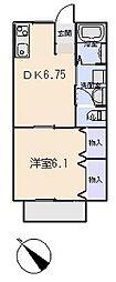 愛知県岡崎市北本郷町字河原の賃貸アパートの間取り