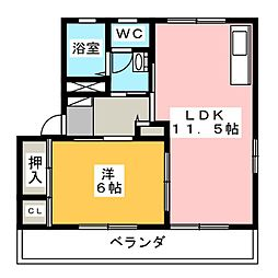 カルティエ弐番館 B棟[2階]の間取り