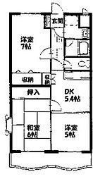 神奈川県大和市中央6丁目の賃貸マンションの間取り