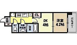 ビガーポリス346京橋II 6階1DKの間取り