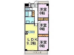 パークサイド雁宿1号館[301号室]の間取り