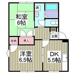 埼玉県さいたま市中央区鈴谷4丁目の賃貸アパートの間取り