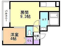 プロヴィデンス東札幌 1階1LDKの間取り