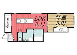 JR総武線 稲毛駅 徒歩8分の賃貸アパート 1階1LDKの間取り