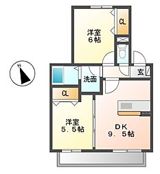 愛知県名古屋市中村区八社1丁目の賃貸アパートの間取り