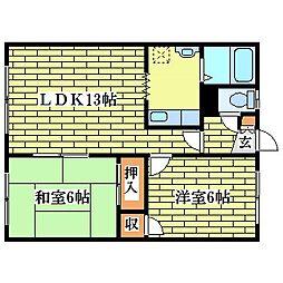 北海道札幌市清田区北野五条5丁目の賃貸アパートの間取り
