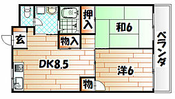 サンコーポ陣の原[4階]の間取り