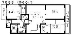ルミエール藤井寺[405号室号室]の間取り