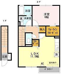 静岡県三島市松本の賃貸アパートの間取り