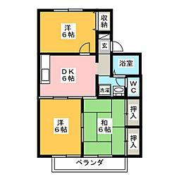 ボンシャンスA[2階]の間取り