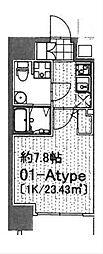 ラシーヌ日本橋 7階ワンルームの間取り