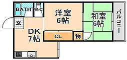 兵庫県伊丹市清水1丁目の賃貸マンションの間取り