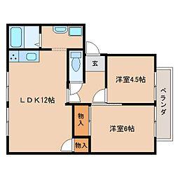 JR桜井線 櫟本駅 徒歩13分の賃貸アパート 2階2LDKの間取り
