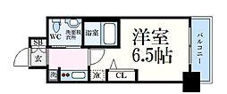 JR東海道・山陽本線 三ノ宮駅 徒歩7分の賃貸マンション 6階1Kの間取り