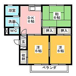 新富士ハイツA[1階]の間取り