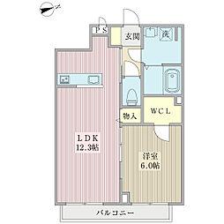 ルミエールnike 2階1LDKの間取り