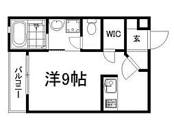 京阪本線 龍谷大前深草駅 徒歩8分の賃貸マンション 3階ワンルームの間取り