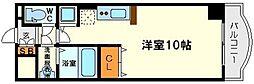 ノルデンタワー新大阪アネックスB棟 3階ワンルームの間取り