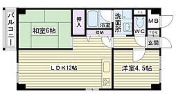 大阪府大阪市鶴見区諸口3丁目の賃貸マンションの間取り