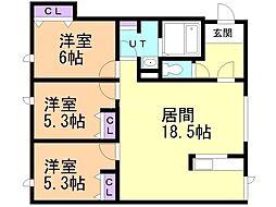 タウンハウス西野参番館 1階3LDKの間取り