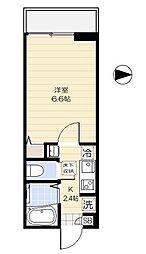 西武新宿線 野方駅 徒歩3分の賃貸アパート 1階1Kの間取り