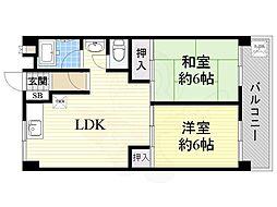 第3マンション北 1階2LDKの間取り