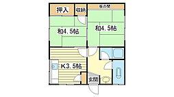 山野アパート東棟[9号室]の間取り